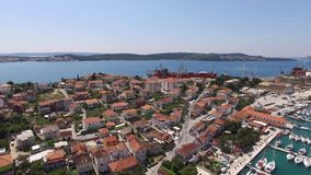 The old town of Trogir, near Split, Croatia. Aerial videography. Drone stock video