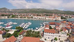 The old town of Trogir, near Split, Croatia. Aerial videography. Drone stock video footage