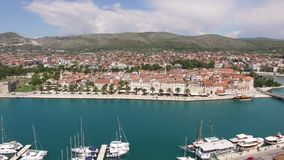 The old town of Trogir, near Split, Croatia. Aerial videography. Drone stock footage