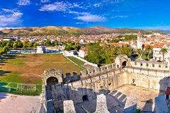 Old town trogir rooftops and soccer field Royalty Free Stock Photography