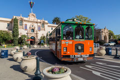 Old Town Trolley. The Old Town Trolley as it moves through Balboa Park in San Diego, California Stock Image