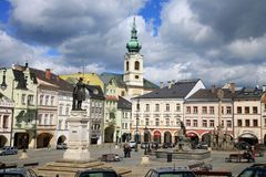 Old Town in Turnov, Czech Republic, Czechia. Main square in Old Town in Trutnov, small town, Czechia, Czech Republic stock image