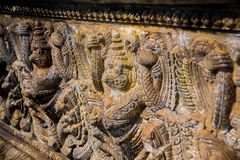 Old town Udong. Fragments of bas-relief. Cambodia. Royalty Free Stock Images