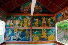 Old town Udong. Painting the walls inside the temple. Cambodia. Stock Image