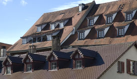 Old town of Ulm, Germany. Roofs with dormer windows and chimneys Royalty Free Stock Images