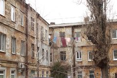 Old town and old uses for drying clothes royalty free stock photography