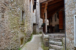 I walk alone. Old town Vajont, dolomites Royalty Free Stock Photography