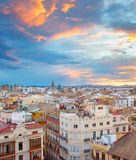 Sunset skyline of Valencia. Spain Royalty Free Stock Photos