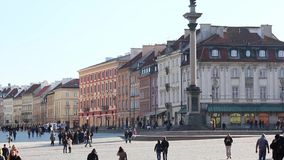 Old Town, Vasa Column,  Royal Castle in Warsaw is placed on the UNESCO's list of World Heritage Sites. stock video
