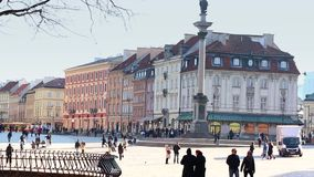 Old Town, Vasa Column,  Royal Castle in Warsaw is placed on the UNESCO's list of World Heritage Sites. stock footage