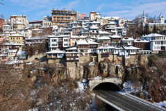 Old Town Veliko Tarnovo above the Yantra river Royalty Free Stock Photography