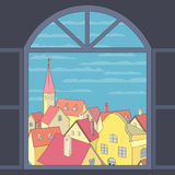 Old town view. City rooftop. Old western cityscape Concept. Old town panoramic view from window. Building rooftops, blue sky, clouds. Vector Illustration royalty free illustration