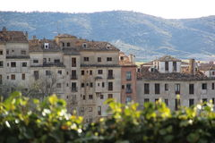 Old town view. Cuenca, Spain, old town view from behind the bushes Stock Photo