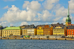 Old Town View, Stockholm, Sweden. Stockholm city view taken against a blue cloudy sky Royalty Free Stock Photos