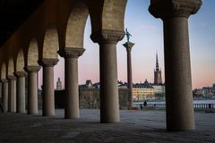 Old town view from stockholm town hall stock images