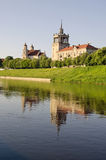Old town Vilnius house and church near Neris river Royalty Free Stock Images
