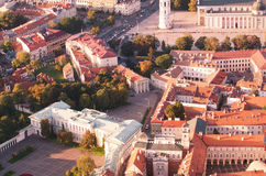 Old Town of Vilnius, Lithuania. Aerial view from piloted flying object Royalty Free Stock Photography