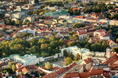 Old Town of Vilnius, Lithuania. Aerial view from piloted flying object Stock Photos