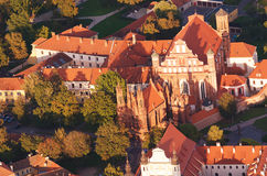 Old Town of Vilnius, Lithuania. Aerial view from piloted flying object Royalty Free Stock Image