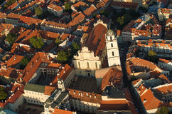 Old Town of Vilnius, Lithuania. Aerial view from piloted flying object Royalty Free Stock Photos