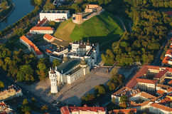 Old Town of Vilnius, Lithuania. Aerial view from piloted flying object Stock Image