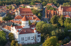 Old Town of Vilnius, Lithuania. Aerial view from piloted flying object Stock Photo