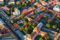 Old Town of Vilnius, Lithuania. Aerial view from piloted flying object Stock Images