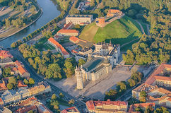 Old Town of Vilnius, Lithuania. Aerial view from piloted flying object Royalty Free Stock Images
