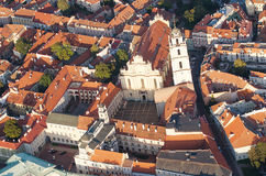 Old Town of Vilnius, Lithuania. Aerial view from piloted flying object Stock Photography