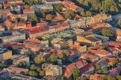 Old Town of Vilnius, Lithuania. Aerial view from piloted flying object Royalty Free Stock Photo