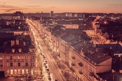 Old Town in Vilnius, Lithuania: Gediminas avenue, main representative street Royalty Free Stock Photo