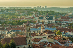Old Town of Vilnius, Lithuania. Towers of medieval churches. Royalty Free Stock Images