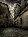 Old town vintage architecture. Road to nowhere concept. Lublin, Poland Stock Photos