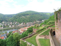 Old town and wall of Heidelberg castle Stock Photos