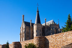 Old town walls  and Episcopal Palace of Astorga Royalty Free Stock Images