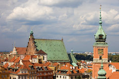 Old Town in Warsaw. Old Town (Polish: Stare Miasto, Starowka) in Warsaw, Poland, on the right clock tower of the Royal Castle stock image