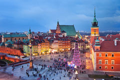 Old Town in Warsaw at Evening Stock Photo