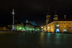 Old Town in Warsaw during the nighht Royalty Free Stock Photos