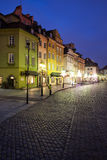 Old Town of Warsaw by Night Royalty Free Stock Photography