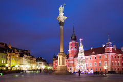 Old Town of Warsaw by Night in Poland Stock Image