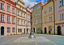 Old town Warsaw - old cracked bell from the cathedral now in a town square Stock Images