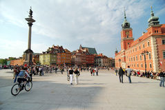 Old Town in Warsaw, Poland. Royal Castle and Sigismund Column, Old Town in Warsaw, Poland Royalty Free Stock Photography