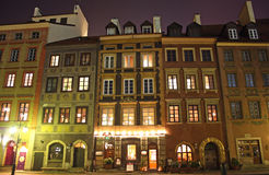 Old Town in Warsaw (Poland) at night Stock Images