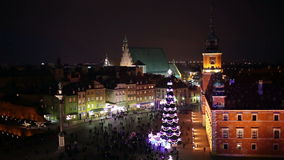 Old Town of Warsaw in Poland at Night. Old Town of Warsaw in Poland illuminated at night, during Christmas time stock video footage