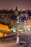 Old Town of Warsaw in Poland by Night Royalty Free Stock Photography