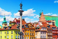 Old Town in Warsaw, Poland. Scenic summer view of Castle Square ancient architecture with Sigismund column in the Old Town in Warsaw, Poland Stock Photography