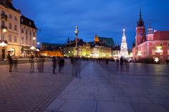 Old Town of Warsaw Skyline by Night Royalty Free Stock Images
