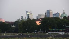 Old Town in Warsaw during sundown stock footage