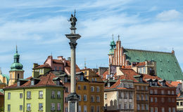 Old Town in Warsaw. Tenement house and King Sigismund III Vasa Column on the Old Town of Warsaw, Poland Stock Photos
