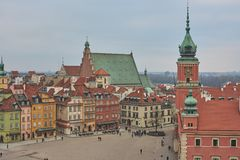 Old Town in Warsaw, tourists, 03.2017, Poland stock photography